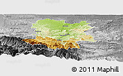 Physical Panoramic Map of Limoux, desaturated