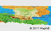 Physical Panoramic Map of Limoux, political outside