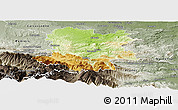 Physical Panoramic Map of Limoux, semi-desaturated