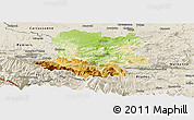 Physical Panoramic Map of Limoux, shaded relief outside
