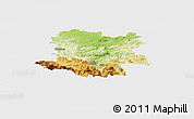 Physical Panoramic Map of Limoux, single color outside