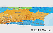 Political Shades Panoramic Map of Aude