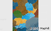 Political Map of Languedoc-Roussillon, darken