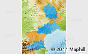 Political Map of Languedoc-Roussillon, physical outside
