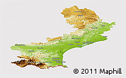 Physical Panoramic Map of Languedoc-Roussillon, cropped outside
