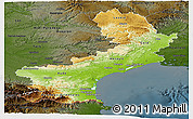 Physical Panoramic Map of Languedoc-Roussillon, darken