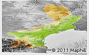 Physical Panoramic Map of Languedoc-Roussillon, desaturated