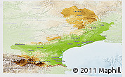 Physical Panoramic Map of Languedoc-Roussillon, lighten