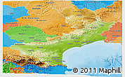 Physical Panoramic Map of Languedoc-Roussillon, political outside