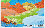Physical Panoramic Map of Languedoc-Roussillon, political shades outside