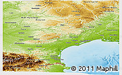 Physical Panoramic Map of Languedoc-Roussillon