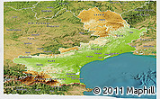 Physical Panoramic Map of Languedoc-Roussillon, satellite outside