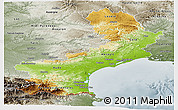Physical Panoramic Map of Languedoc-Roussillon, semi-desaturated