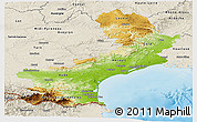 Physical Panoramic Map of Languedoc-Roussillon, shaded relief outside