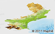Physical Panoramic Map of Languedoc-Roussillon, single color outside