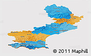 Political Panoramic Map of Languedoc-Roussillon, cropped outside