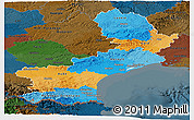 Political Panoramic Map of Languedoc-Roussillon, darken