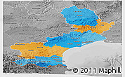 Political Panoramic Map of Languedoc-Roussillon, desaturated