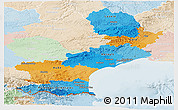 Political Panoramic Map of Languedoc-Roussillon, lighten