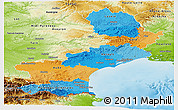 Political Panoramic Map of Languedoc-Roussillon, physical outside