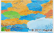 Political Panoramic Map of Languedoc-Roussillon