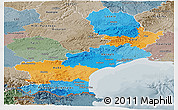 Political Panoramic Map of Languedoc-Roussillon, semi-desaturated