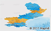 Political Panoramic Map of Languedoc-Roussillon, single color outside