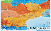 Political Shades Panoramic Map of Languedoc-Roussillon