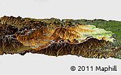 Physical Panoramic Map of Prades, darken