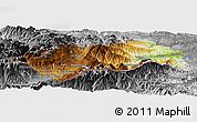 Physical Panoramic Map of Prades, desaturated