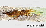 Physical Panoramic Map of Prades, lighten