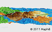 Physical Panoramic Map of Prades, political outside