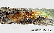 Physical Panoramic Map of Prades, semi-desaturated