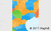 Political Simple Map of Languedoc-Roussillon