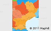 Political Shades Simple Map of Languedoc-Roussillon