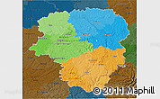 Political 3D Map of Limousin, darken