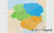 Political 3D Map of Limousin, lighten