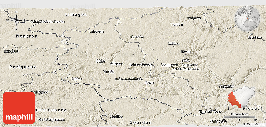 Brive France Map.Shaded Relief Panoramic Map Of Brive La Gaillarde
