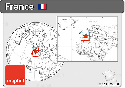 Blank Location Map of France, within the entire continent