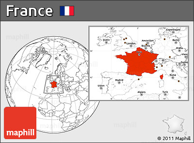 Blank Location Map of France