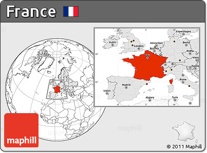 Blank Location Map of France, highlighted continent