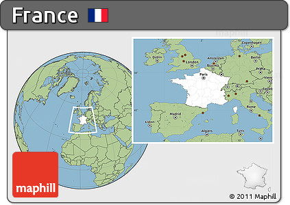 Blank Location Map of France, savanna style outside