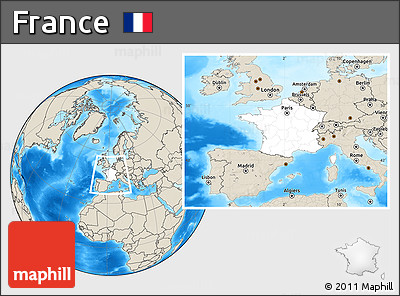 Blank Location Map of France, shaded relief outside