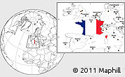 Flag Location Map of France, blank outside