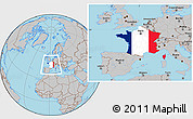 Flag Location Map of France, gray outside