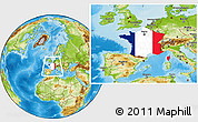 Flag Location Map of France, physical outside