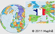 Flag Location Map of France, political outside