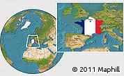Flag Location Map of France, satellite outside
