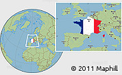Flag Location Map of France, savanna style outside