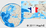 Flag Location Map of France, shaded relief outside